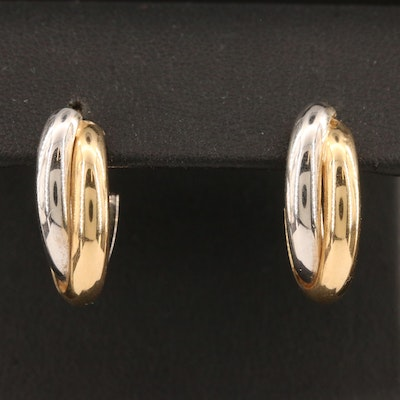 14K Two-Tone J Hoop Earrings