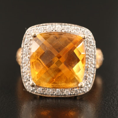 14K Citrine and Diamond Halo Ring