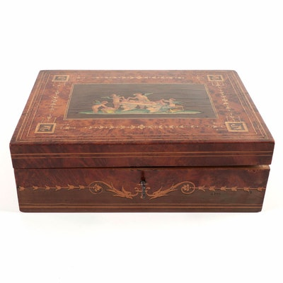 Italian Burlwood and Marquetry Lock Box, Late 19th to Early 20th Century