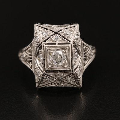 Art Deco Platinum Diamond Ring with Milgrain Detailing