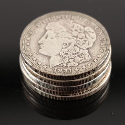 Five Morgan Silver Dollars, 1921