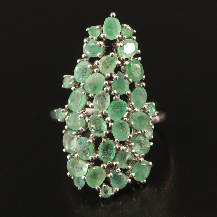 Sterling Emerald Cluster Ring