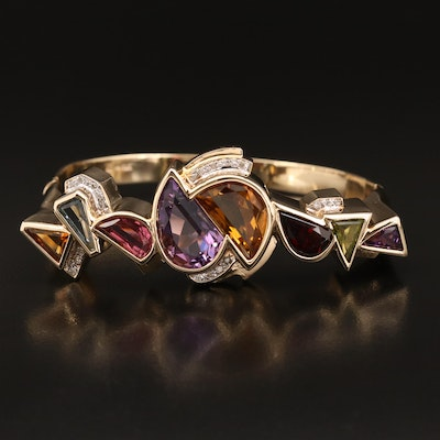 14K Geometric Bangle with Amethyst, Diamond and Gemstones