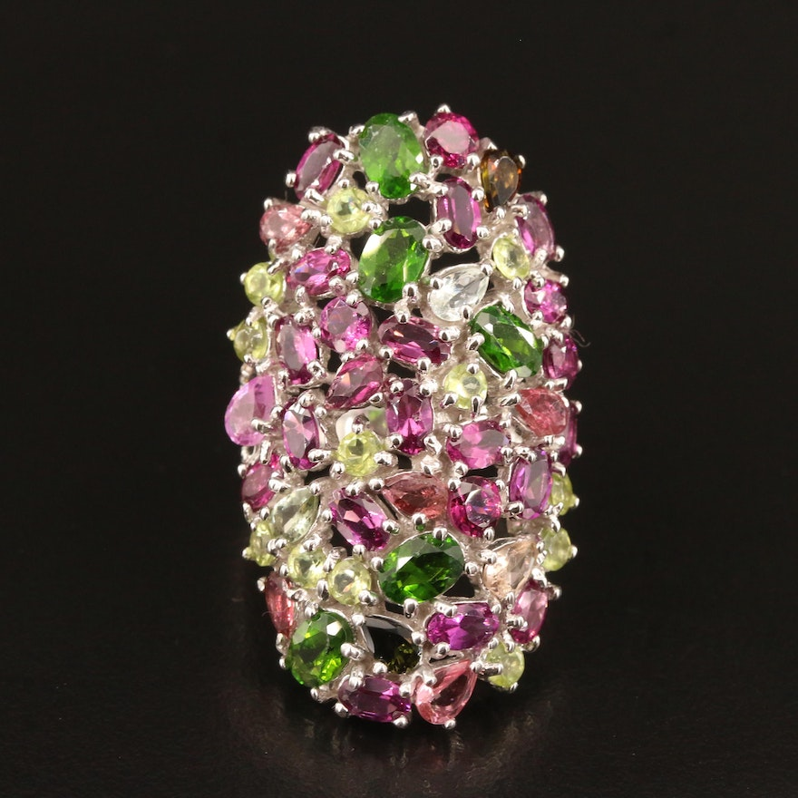 Sterling Oval Cluster Ring with Garnet, Diopside and Peridot