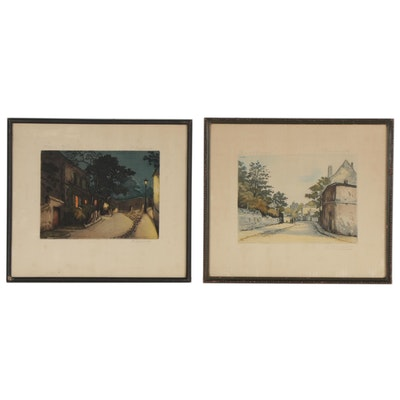 H. Tourneur Hand-Colored Aquatint Etchings of Street Views, Early 20th Century