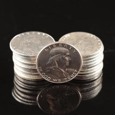 Twenty Uncirculated 1950 Franklin Silver Half Dollars