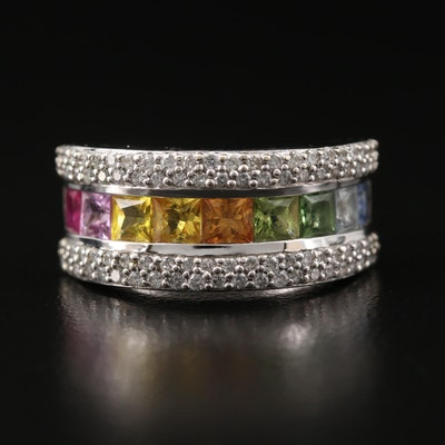 EFFY 14K Sapphire and Diamond Rainbow Ring