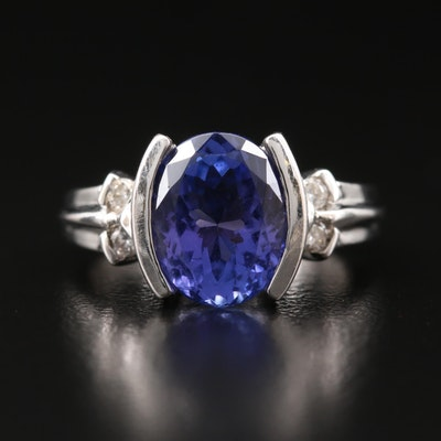 14K 3.53 CT Tanzanite and Diamond Ring