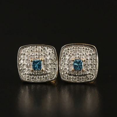 Sterling Diamond Double Halo Stud Earrings