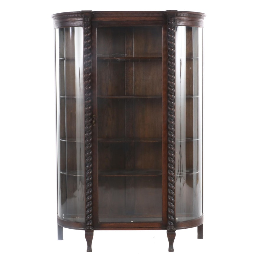 Late Victorian Oak Glass-Front Cabinet, Late 19th/Early 20th Century