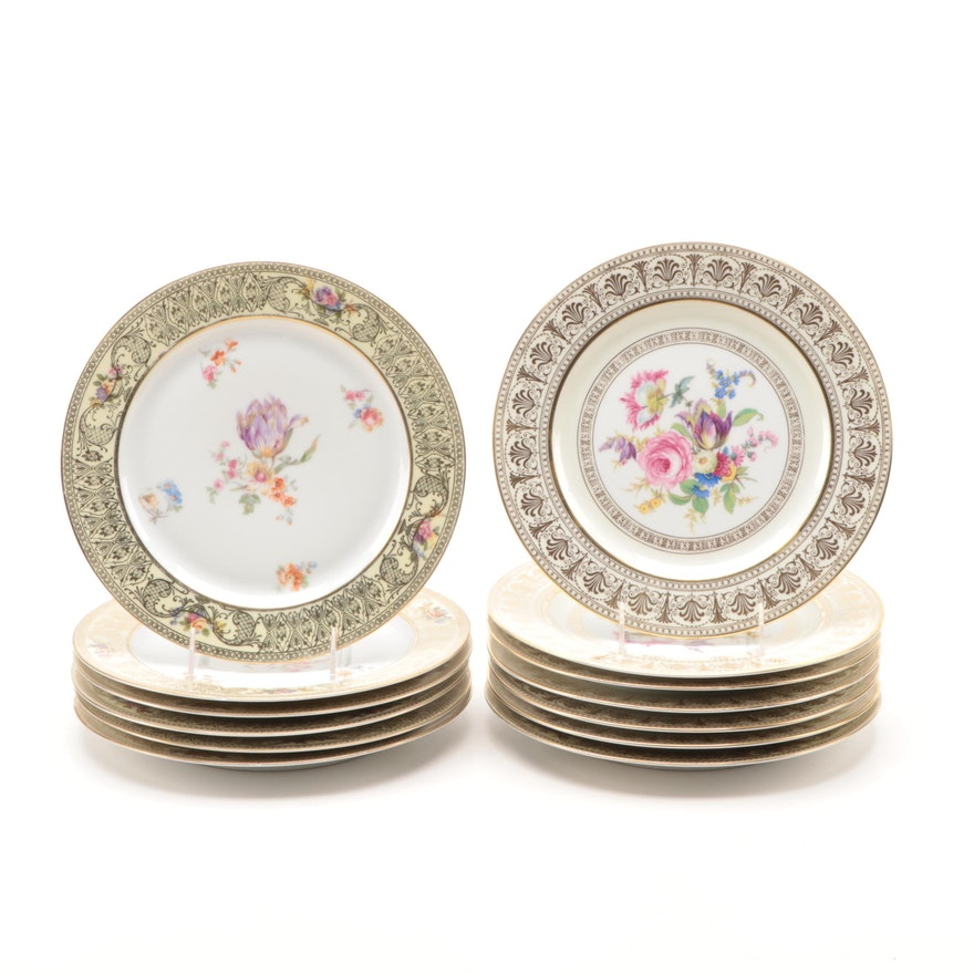 German Floral and Gilt Decorated Porcelain Dinner Plates, Early 20th C.