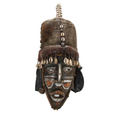 West African Inspired Wooden Mask with Embellishments