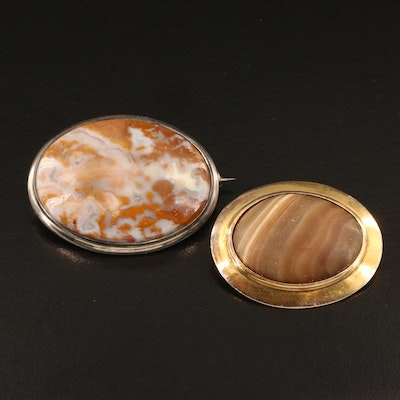 Antique 10K Agate Brooch with Vintage Sterling Silver Agate Brooch