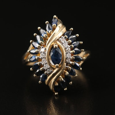 10K Sapphire and Diamond Navette Ring