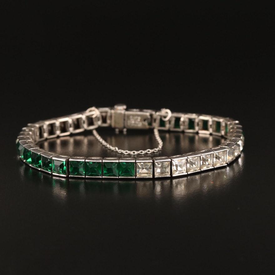 Vintage Ciner Sterling Silver Link Bracelet