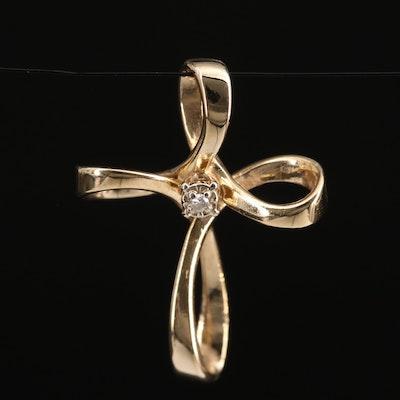 Krementz 14K Diamond Cross Pendant