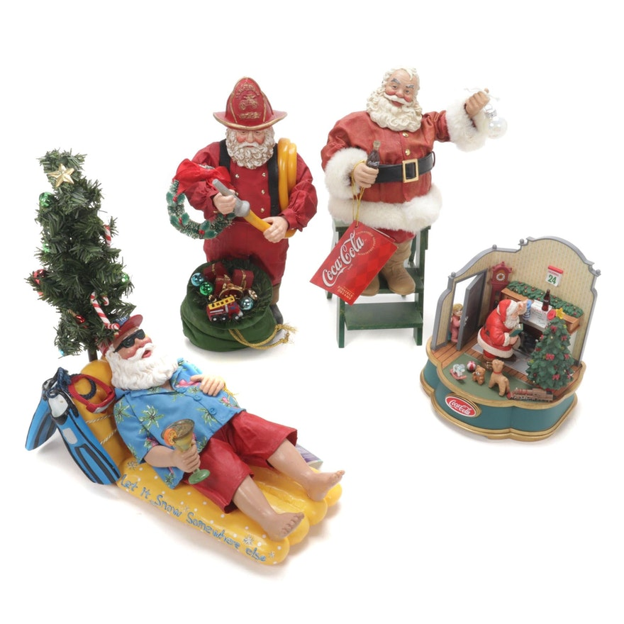 Coca-Cola Musical Collection and Possible Dreams Clothtique Santa Figurines