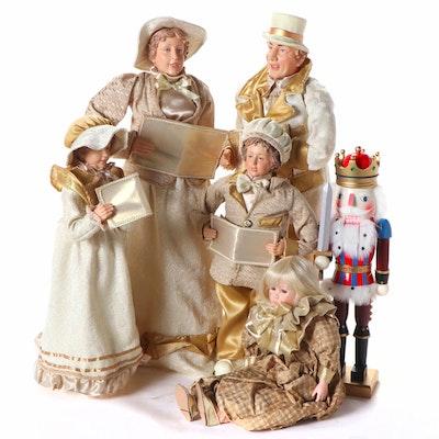Kurt S. Adler Nutcracker with Caroler Dolls and Baby Doll