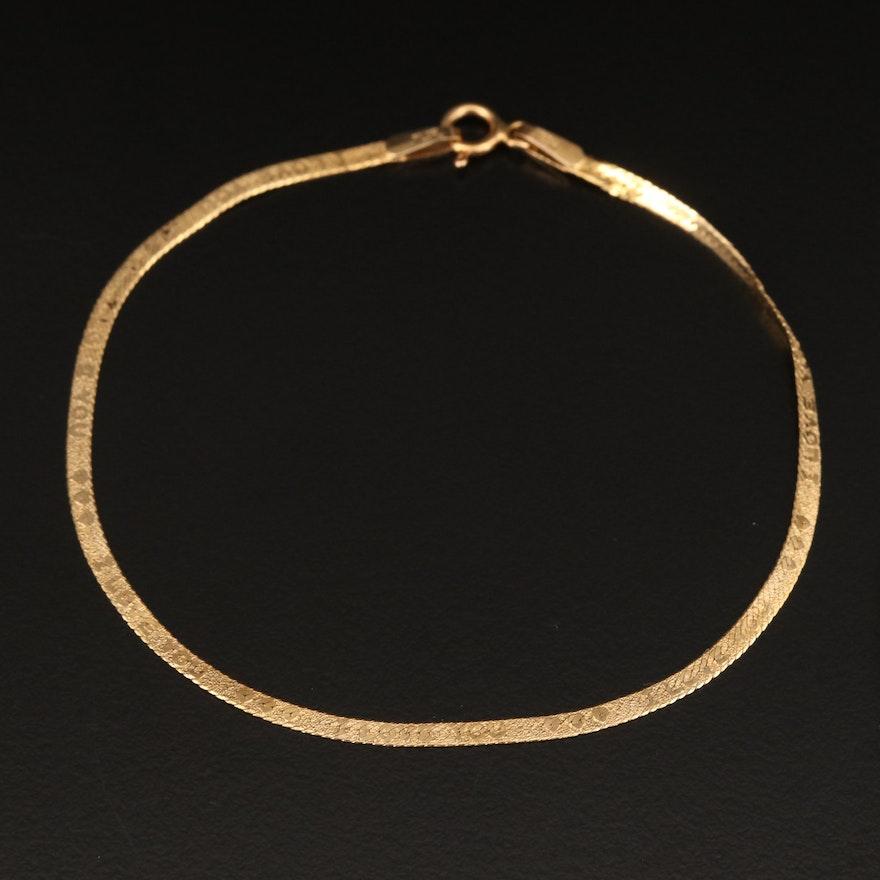 "Milor 14K Herringbone Chain Bracelet with ""I Love You"" Patterned Links"