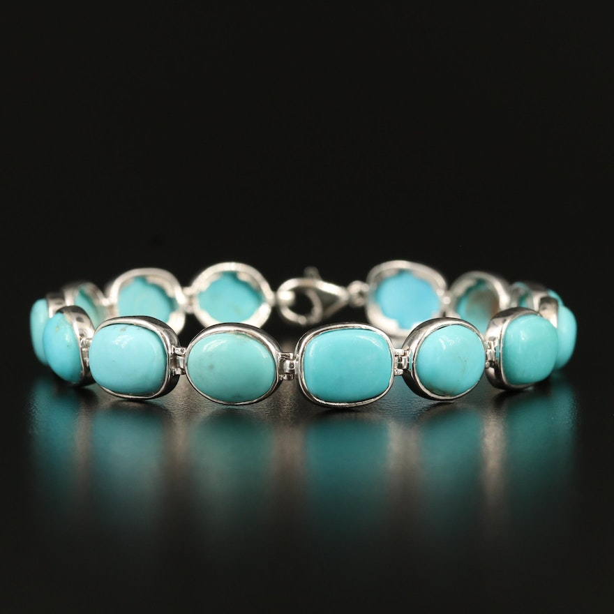 Turquoise Bracelet with Sterling Silver Clasp