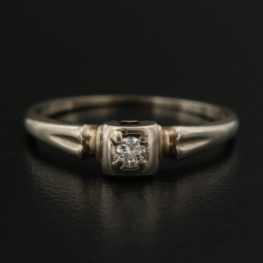 Vintage 14K 0.06 CT Diamond Solitaire Ring