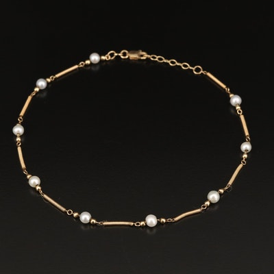 14K Pearl Bead and Bar Link Station Anklet