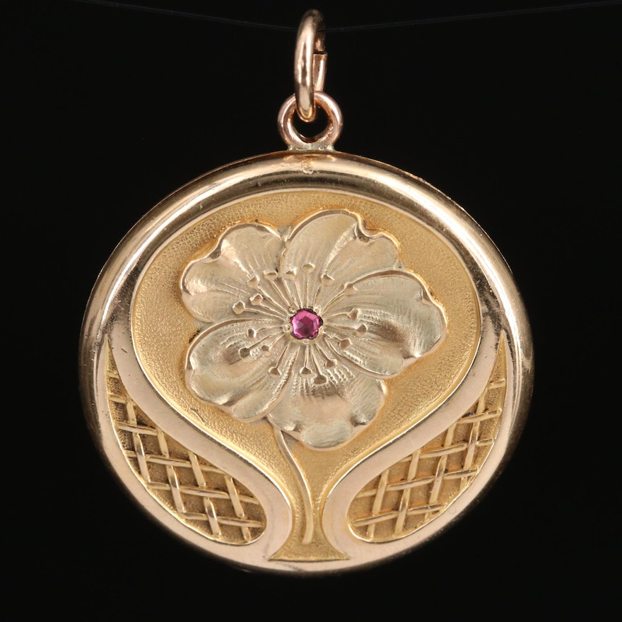 Art Nouveau Glass Floral Locket Pendant