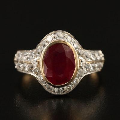10K Bezel Set Corundum and Sapphire Ring