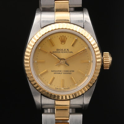 1991 Rolex Oyster Perpetual 18K Gold and Stainless Steel Automatic Wristwatch