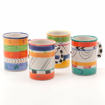 "Clementina Ceramics Studio ""Africa Cafe"" Painted Mugs, Late 20th Century"