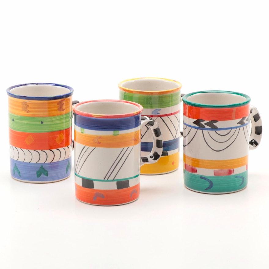 "Clementina Ceramics Studio ""Africa Cafe"" Painted Mugs, Late 20th Century"