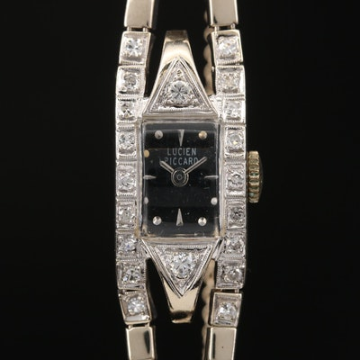 Vintage Lucien Piccard 14K White Gold and Diamond Stem Wind Wristwatch