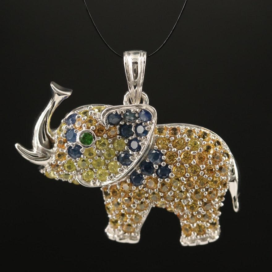Sterling Silver Sapphire and Tsavorite Elephant Pendant
