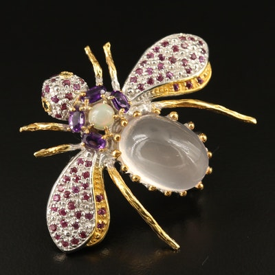 Sterling Silver Rose Quartz, Opal and Amethyst Insect Brooch