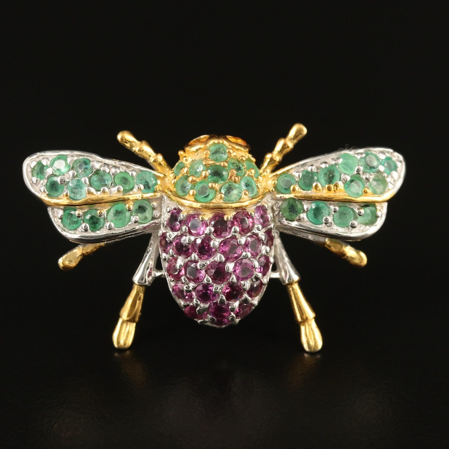 Sterling Silver Emerald, Sapphire and Rhodolite Garnet Insect Brooch