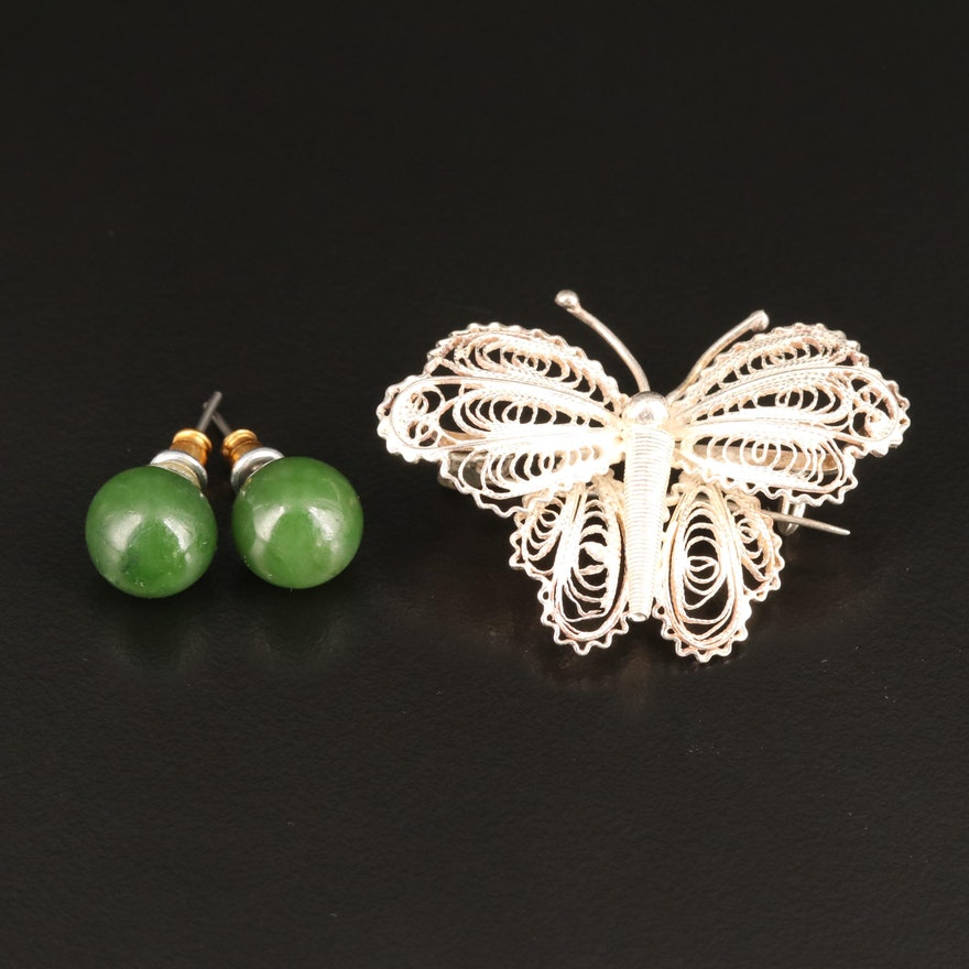 Vintage Sterling Silver Filigree Butterfly Brooch and Nephrite Stud Earrings