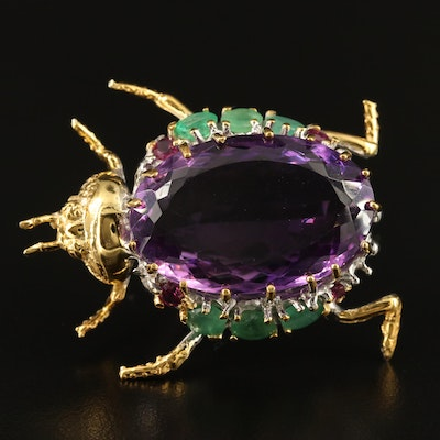 Sterling Silver Amethyst, Emerald and Rhodolite Garnet Insect Brooch