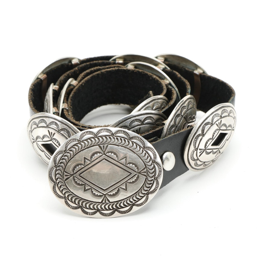 Halbert Martin Navajo Sterling Silver Concho and Leather Belt