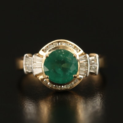 Art Deco Inspired 9K 1.15 CT Emerald and Diamond Ring