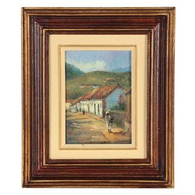 """Miranda Oil Painting """"Ouro Preto,"""" Late 20th Century"""