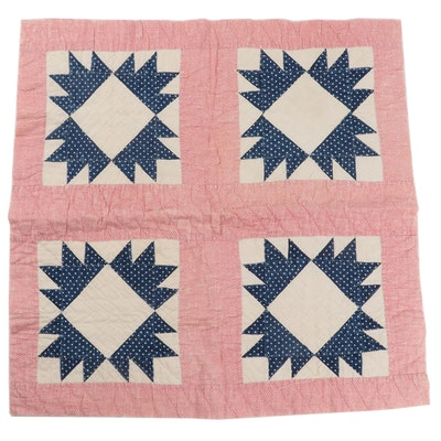 Handstitched  Pieced Sawtooth Star Quilt Square