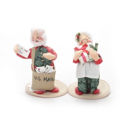 Annalee Mobilitee Santa and Mrs. Claus U.S. Mail Dolls, 1991