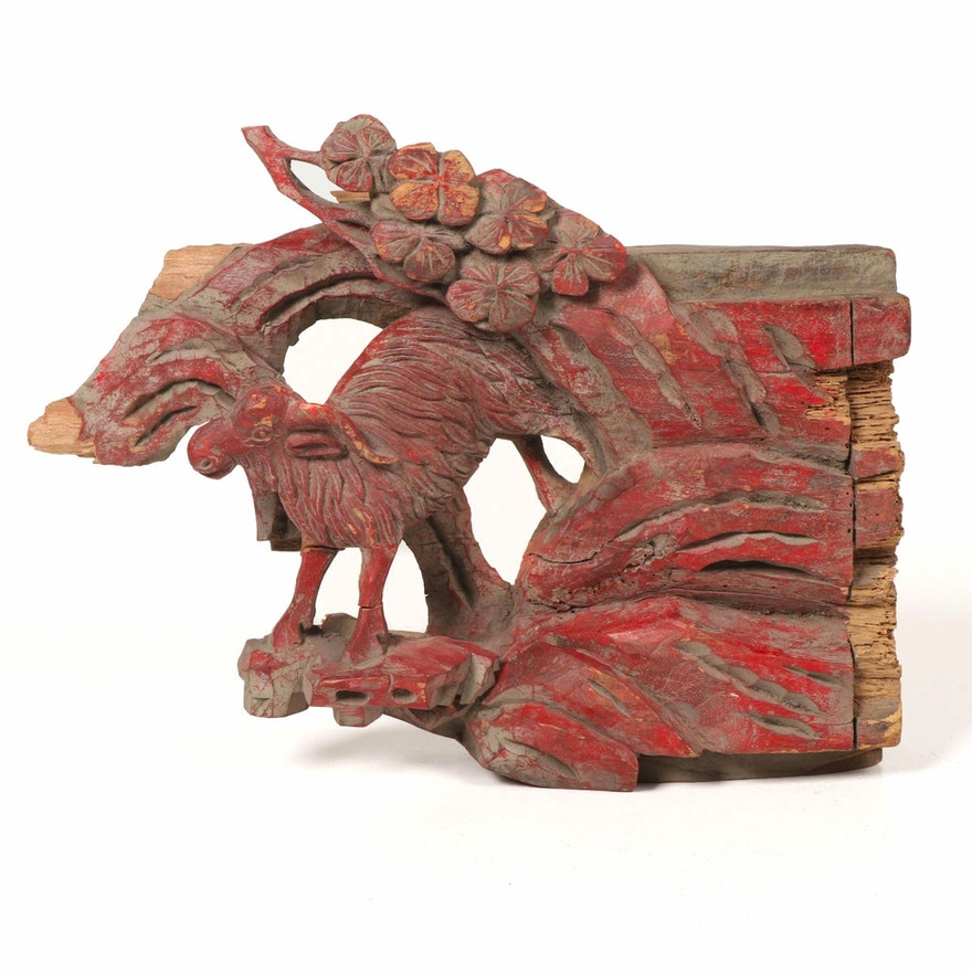 Asian Painted Wood Figural Architectural Salvage, Early 20th Century