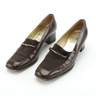 Bruno Magli Brown Leather Block Heel Loafers