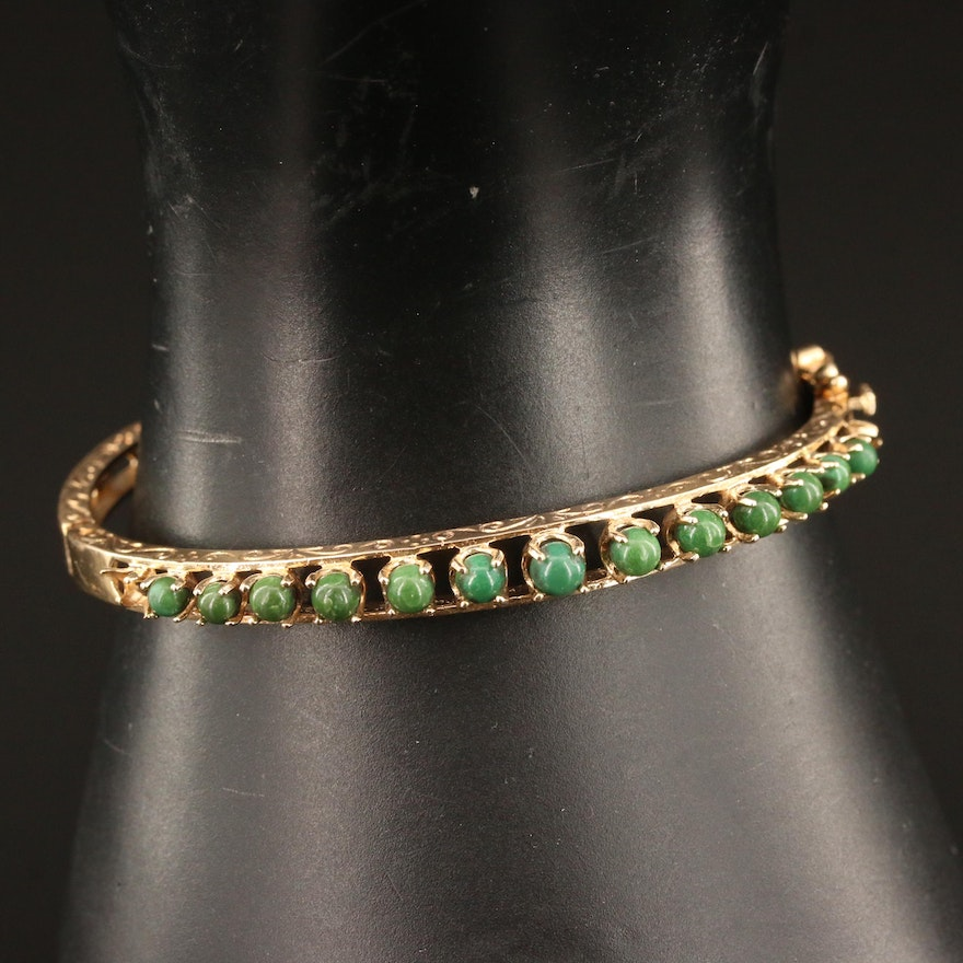 Vintage 10K Turquoise Hinged Bangle with Engraved Scroll Work