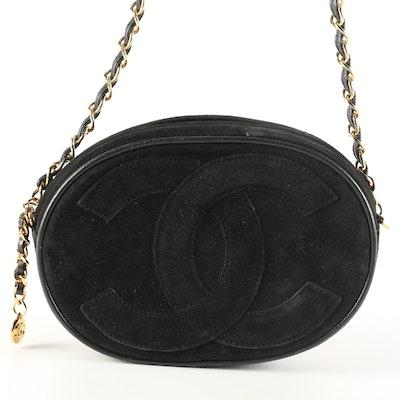 Chanel CC Mini Oval Chain Crossbody Bag in Black Suede