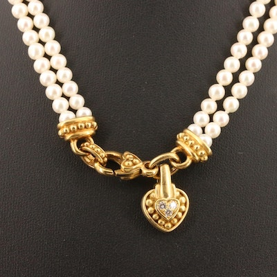 Judith Ripka 18K Double Strand Pearl and Diamond Heart Necklace