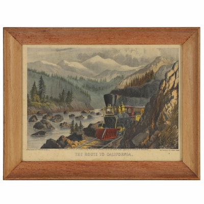 "Currier & Ives Hand-Colored Lithograph ""The Route to California"""