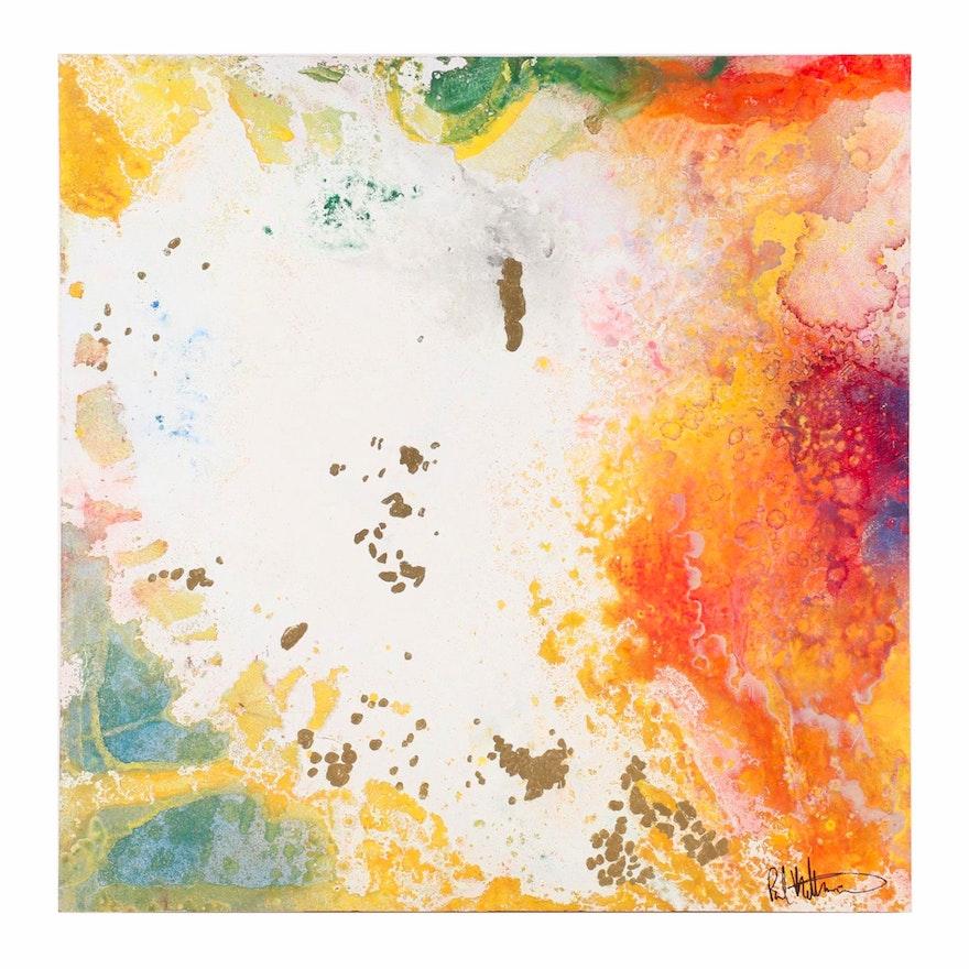 "Paul Mathisen Abstract Mixed Media Painting ""Miami Nights #12"""
