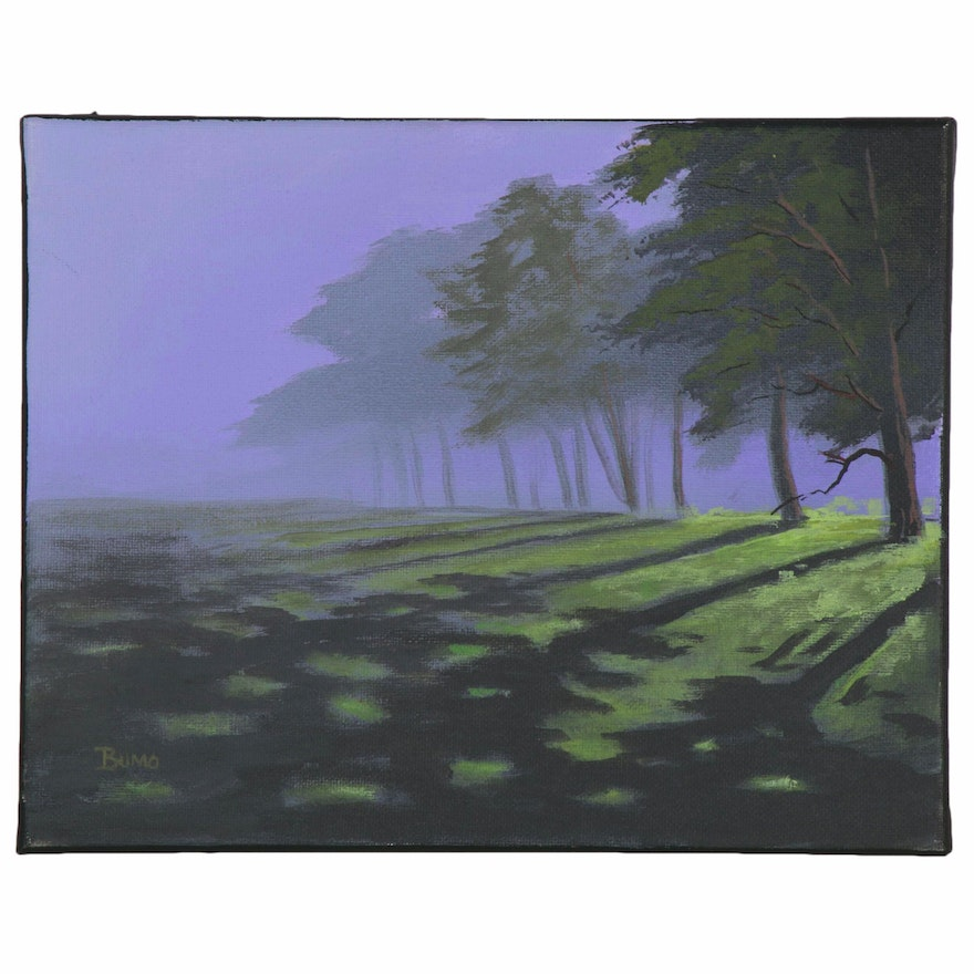 "Douglas ""Bumo"" Johnpeer Oil Painting ""Morning Fog,"" 2020"